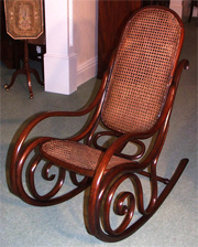 What a beautiful English Thonet-Bentwood Rocking Chair! See more wonderful antique English chairs at Antique-Antiques UK